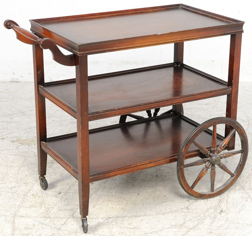 A VINTAGE ROLLING SERVING CART WITH WAGON WHEELS - 2