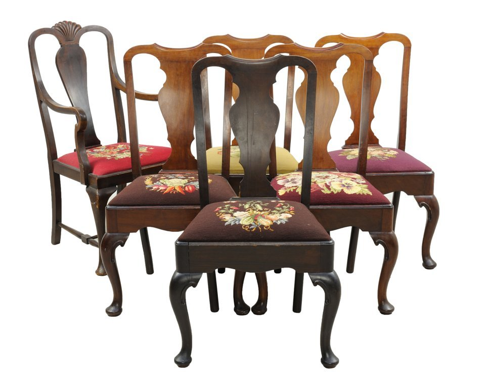 SIX ANTIQUE FIDDLEBACK CHAIRS WITH EMBROIDERED SEAT
