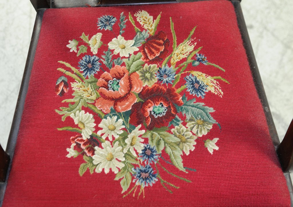 SIX ANTIQUE FIDDLEBACK CHAIRS WITH EMBROIDERED SEAT - 8