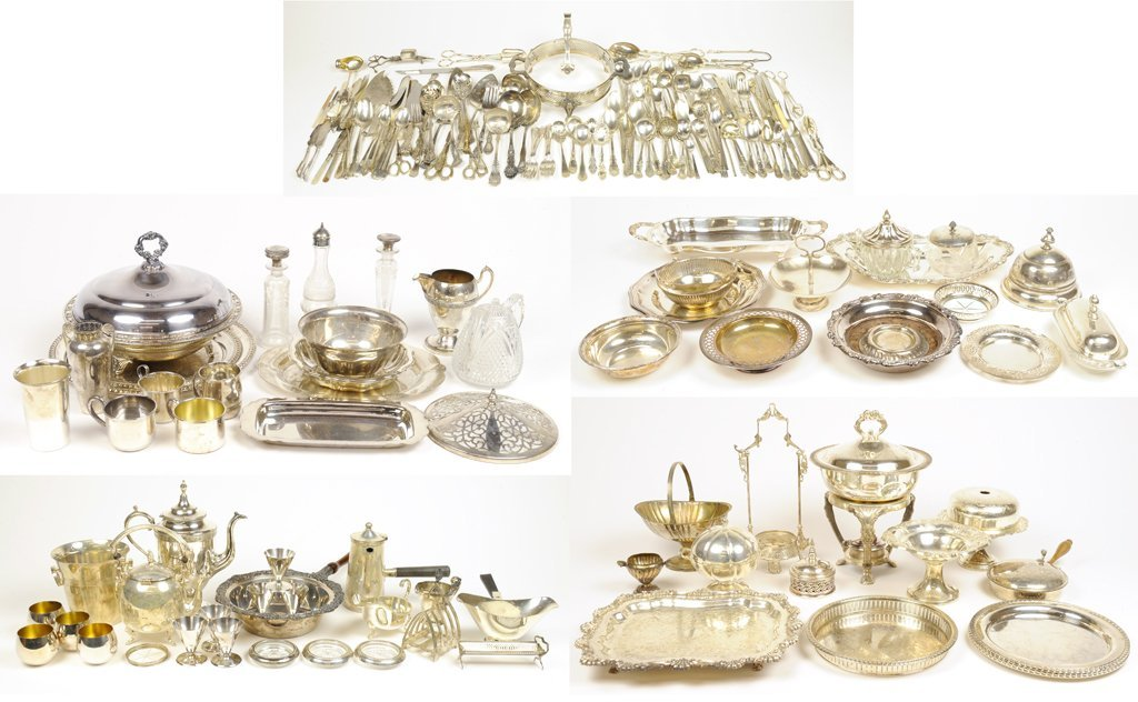 A COLLECTION OF VINTAGE SILVERPLATE SERVING ESSENTIALS