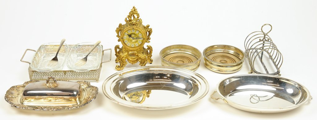 A COLLECTION OF SILVER PLATE SERVING AND A LOUIS XV DOR