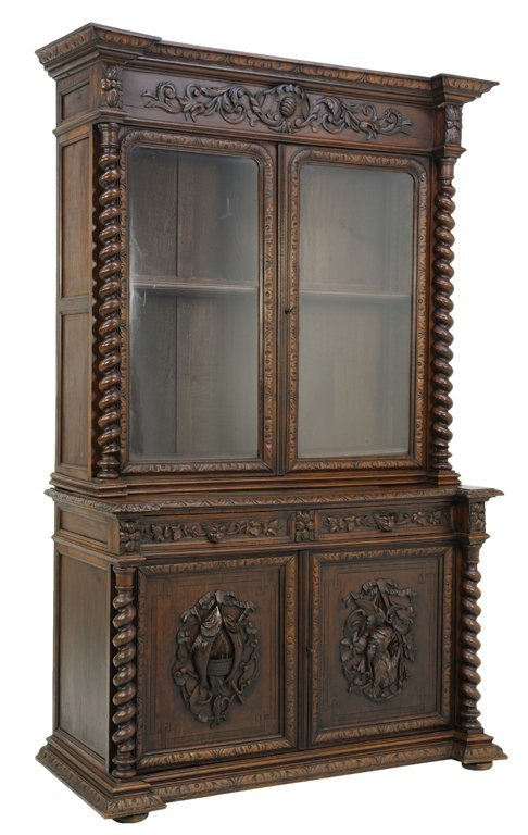 A FRENCH HUNTING STYLE GLAZED BOOKCASE