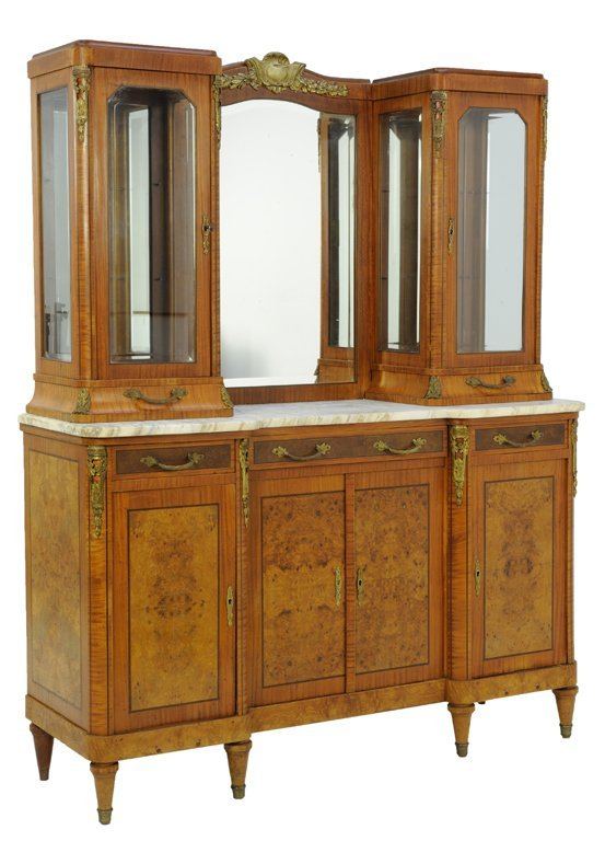 A VINTAGE PARQUETRY BUFFET WITH ORMOLU MOUNTS