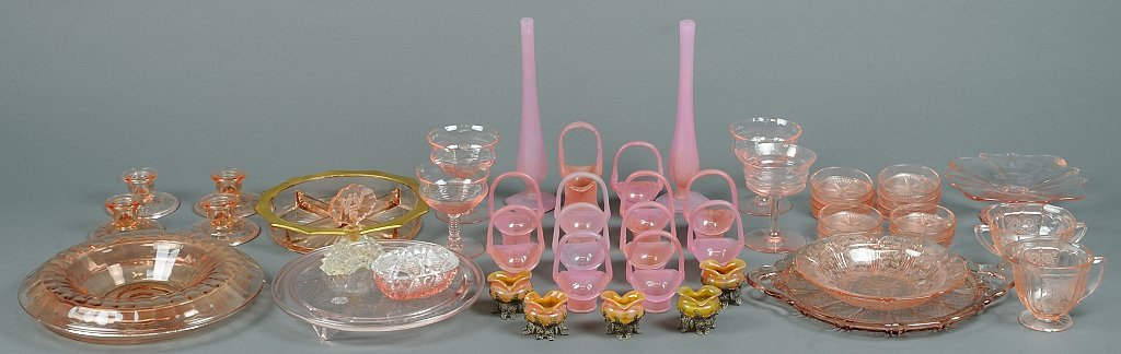 A VINTAGE PINK GLASS HOSTESS COLLECTION