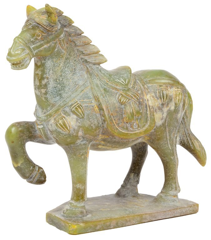 A CARVED NEPHRITE CHINESE WAR HORSE STATUE