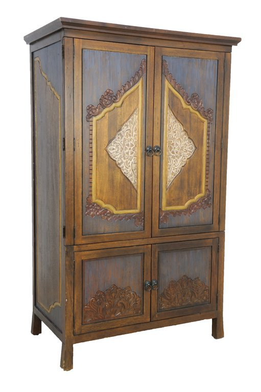 A RUSTIC THAI STYLE ARMOIRE