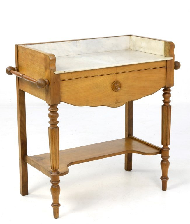 AN ANTIQUE LOUIS XIV STYLE WASH TABLE WITH MARBLE TOP