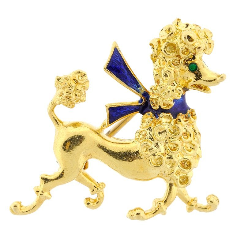 AN UNNO-A-ERRE 18KT YELLOW GOLD AND ENAMEL POODLE PIN