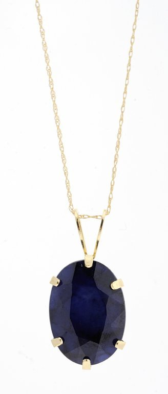 A SAPPHIRE AND 14KT YELLOW GOLD PENDANT ON A 10KT