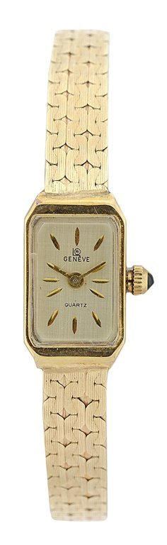 A LADIES 14KT YELLOW GOLD GENEVE WATCH Detected not