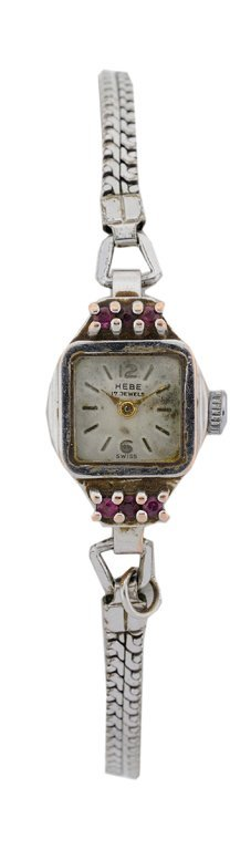 A LADIES 14KT WHITE GOLD HEBE WATCH WITH RUBIES