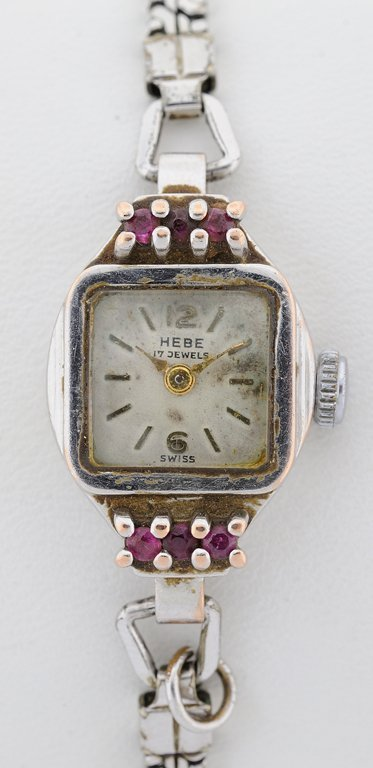 A LADIES 14KT WHITE GOLD HEBE WATCH WITH RUBIES - 2