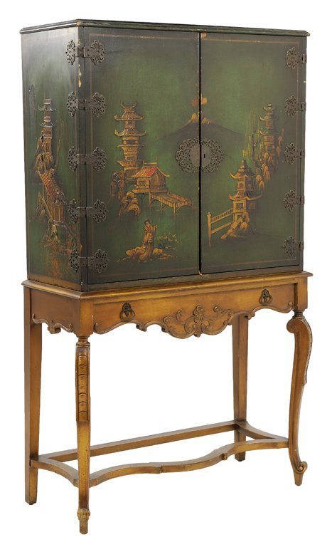 A VINTAGE LOUIS XV STYLE PAINTED CHINESE CABINET