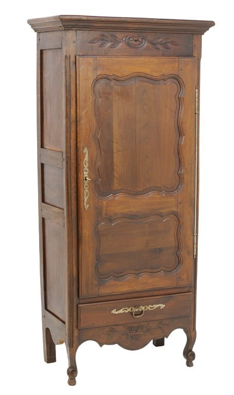 A FRENCH RUSTIC LOUIS XV STYLE SINGLE DOOR ARMOIRE