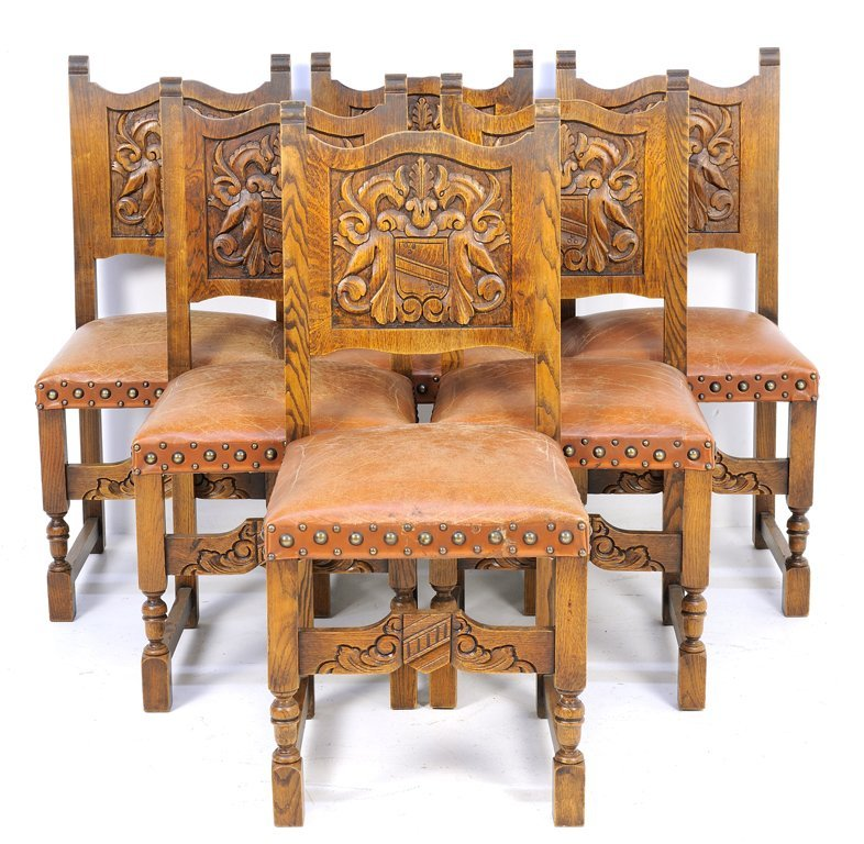 A SET OF SIX FRENCH NORMANDY STYLE SIDE CHAIRS WITH