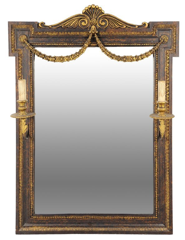 AN EMPIRE STYLE MIRROR WITH FESTOON AND LIGHTED SCONCES