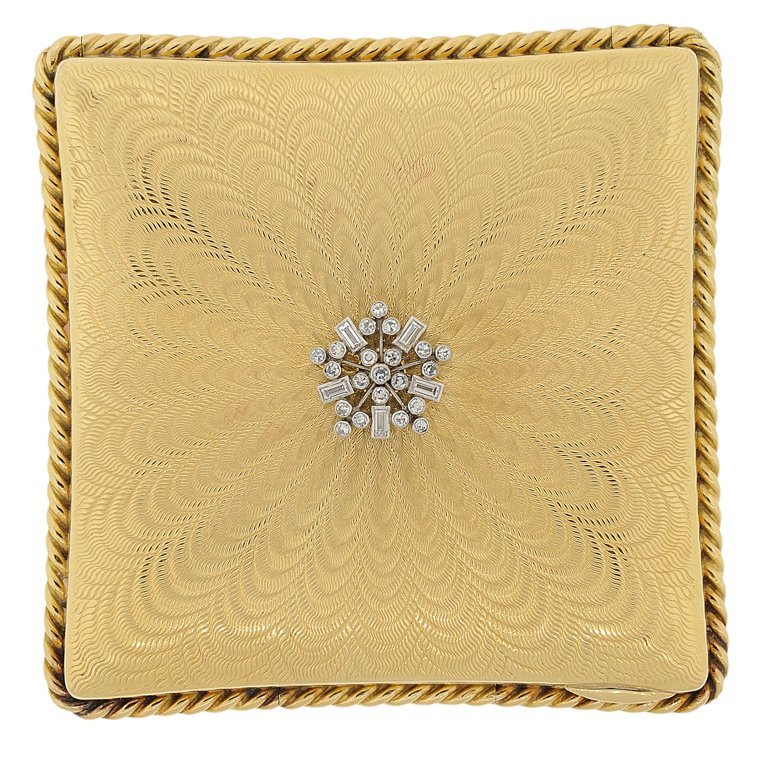 AN 18KT YELLOW GOLD AND DIAMOND COMPACT CASE BY