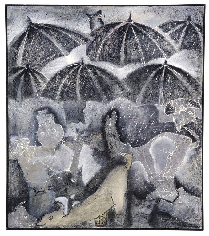 """JAVIER CRUZ, (Mexican, 1952- ), """"EN LA LLUVIA""""., Mixed"""