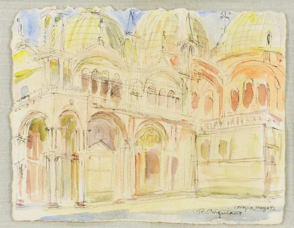 A RAUL ANGUIANO WATERCOLOR PAINTING OF VENICE (Mexican,