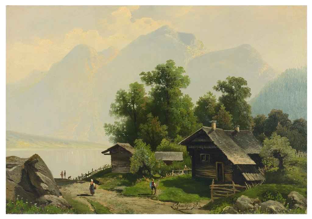 A DUTCH MOUNTAINSIDE OIL ON CANVAS Very good condition.