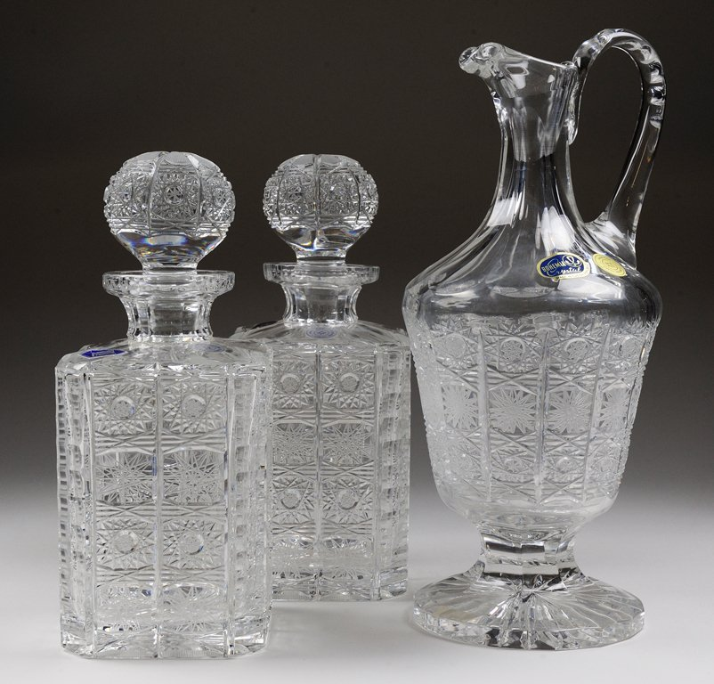 A BRILLIANT CUT CZECH COLLECTION OF DECANTERS
