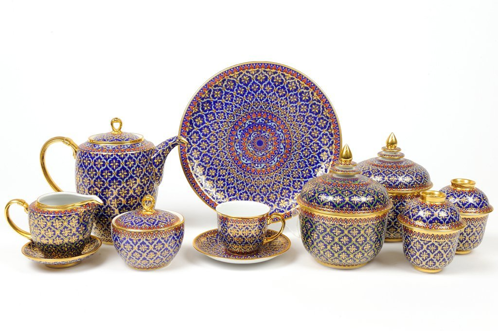 A BLUE ENAMEL AND GILT PAINTED ARABESQUE STYLE BRUNCH