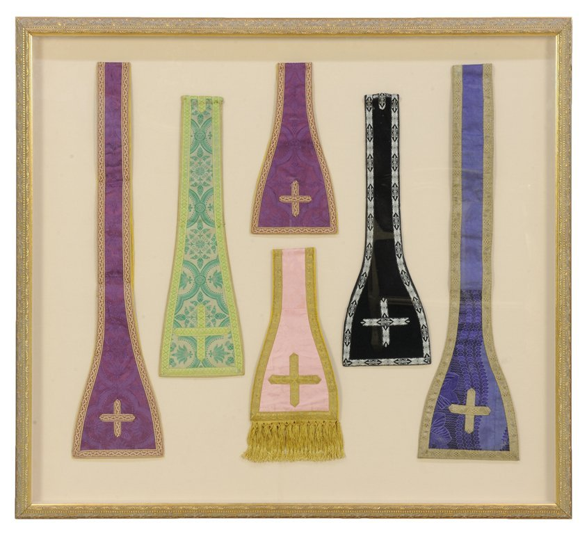 A COLLECTION OF PRIESTLY MANIPLE AND STOLE VESTMENTS