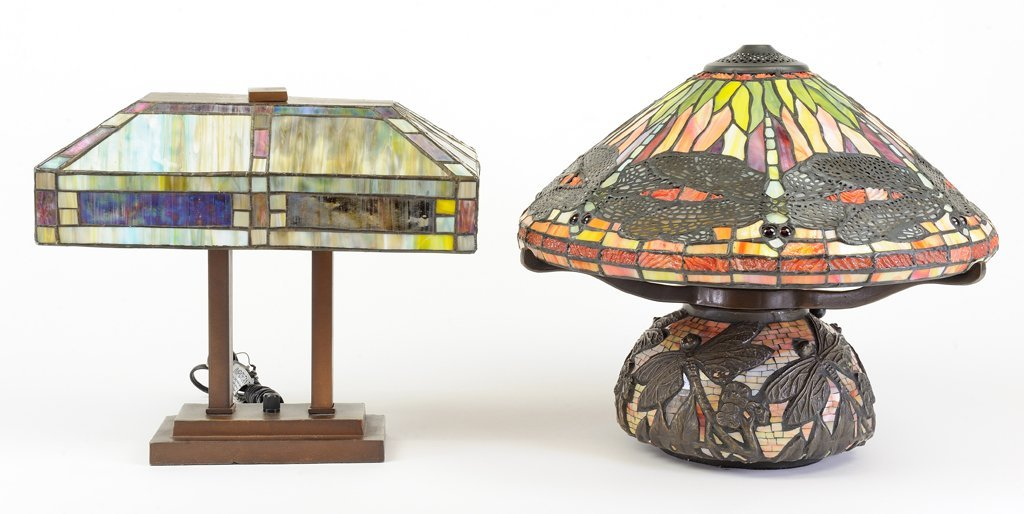 A LOT OF TWO TIFFANY STYLE LAMPS IN DRAGONFLY AND FRANK