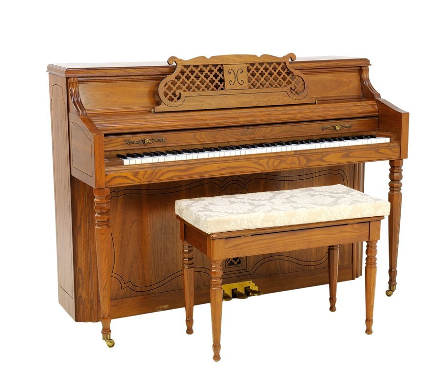 A BERNSTEIN UPRIGHT PARLOR PRACTICE PIANO AND BENCH