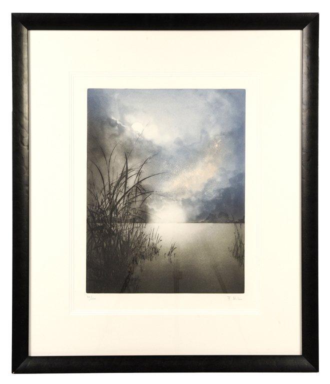 A FRAMED SUNRISE LITHOGRAPH BY F. HILON