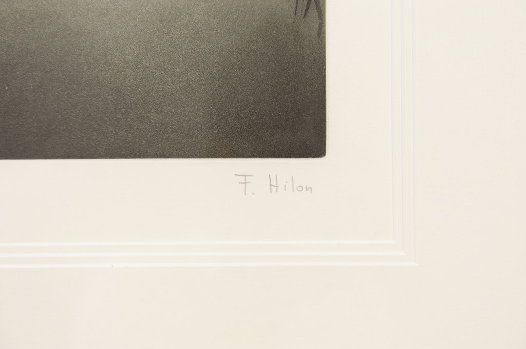 A FRAMED SUNRISE LITHOGRAPH BY F. HILON - 2