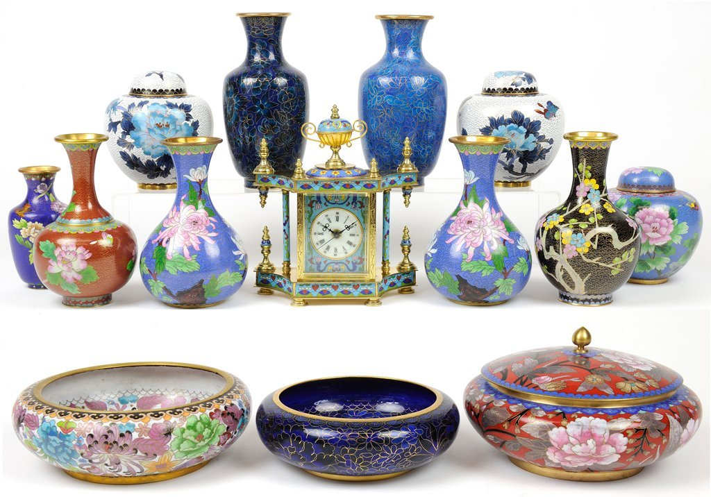 A COLLECTION OF ASIAN CLOISONNÉ INCLUDES CLOCK