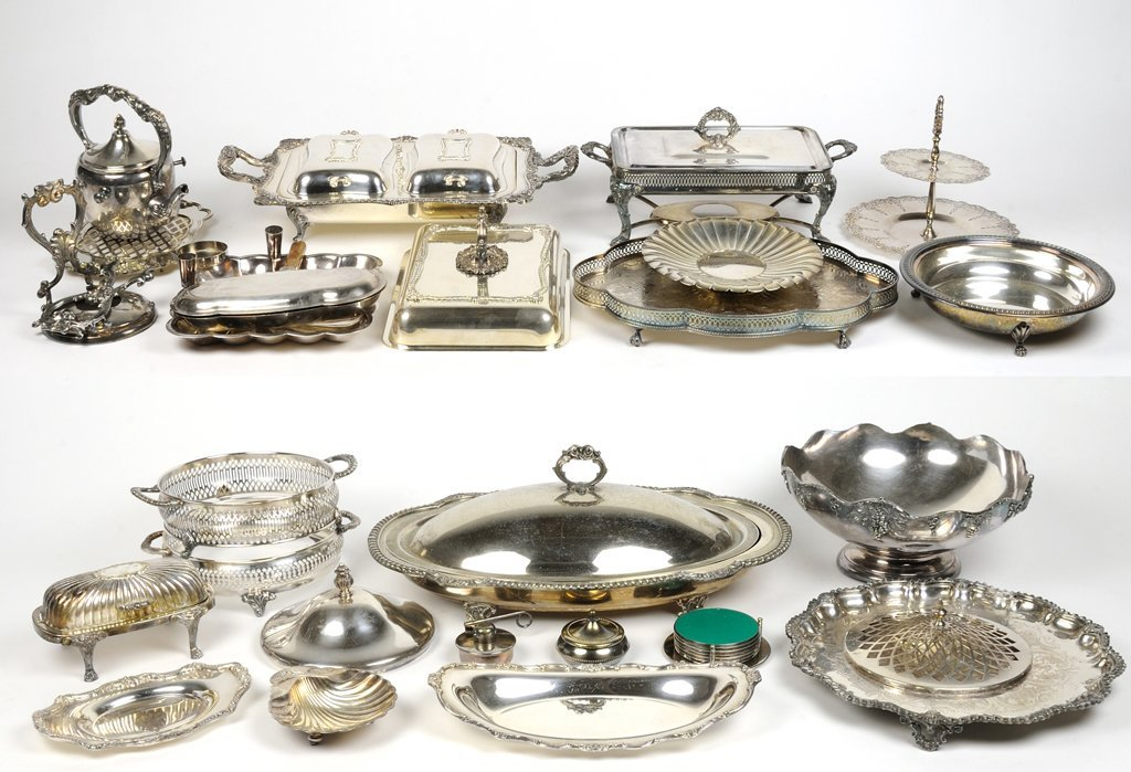 A LARGE COLLECTION OF SILVERPLATE SERVING ESSENTIALS