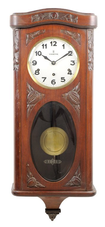 "A MAHOGANY VICTORIAN STYLE ""VEDETTE"" CLOCK WITH FRUIT"