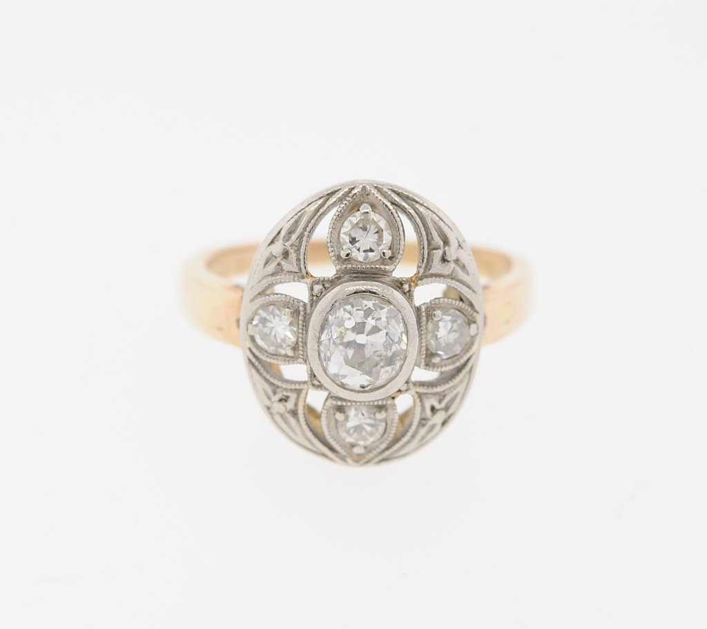 A LADIES 14KT YELLOW, ROSE GOLD AND DIAMOND VICTORIAN