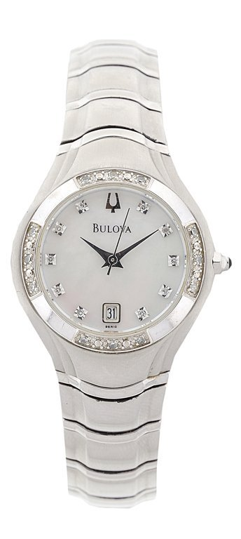 "A LADIES DIAMOND AND MOTHER-OF-PEARL ""BULOVA"" SPORTS"