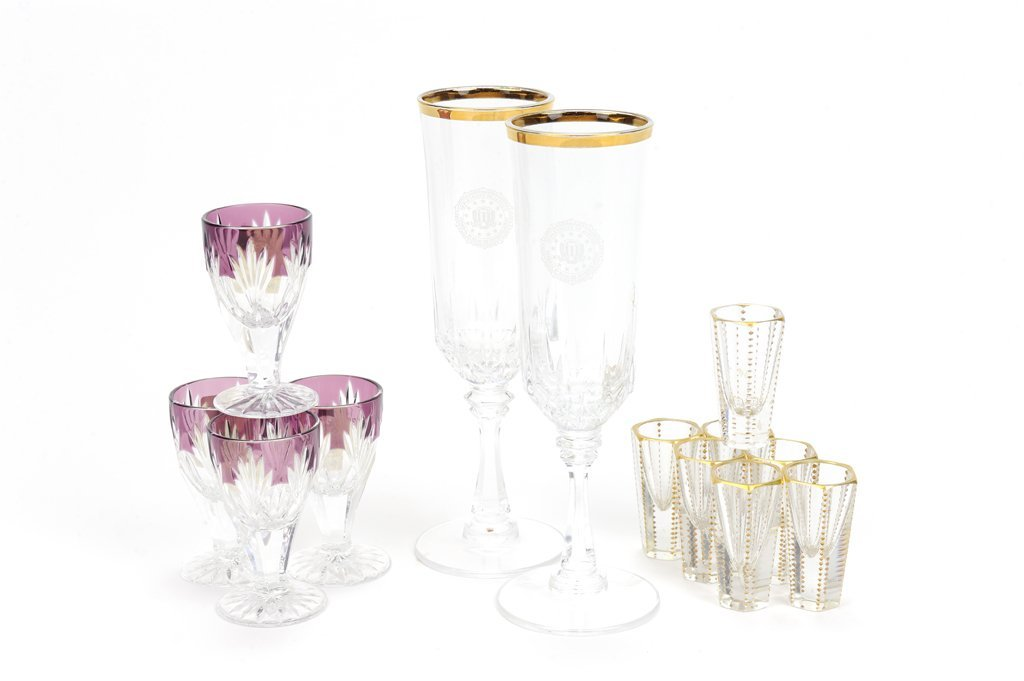A COLLECTION OF GILT RIM AND CZECH CUT STEMWARE AND