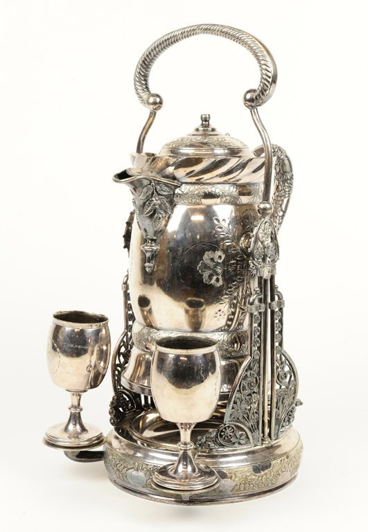 "A ""ROGERS SMITH AND CO."" SILVER PLATE PITCHER AND"