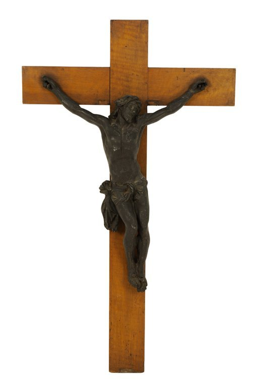 A BRONZE FINISH CHRIST ON WOODEN CROSS