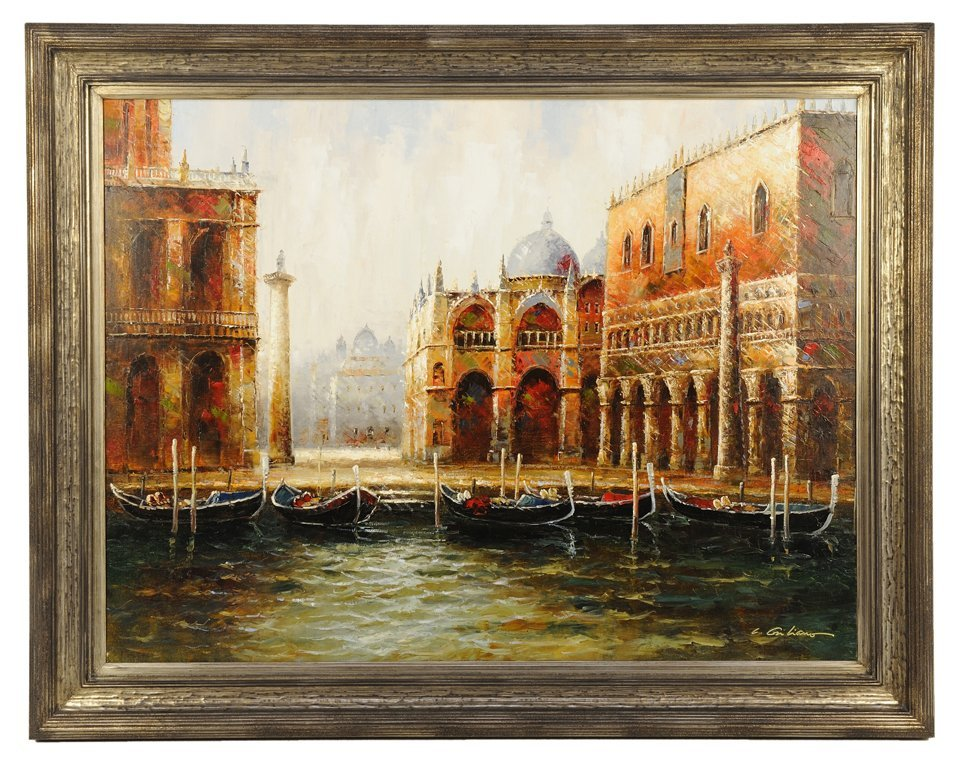 AN OIL ON CANVAS OF A VENETIAN RIVER SCENE
