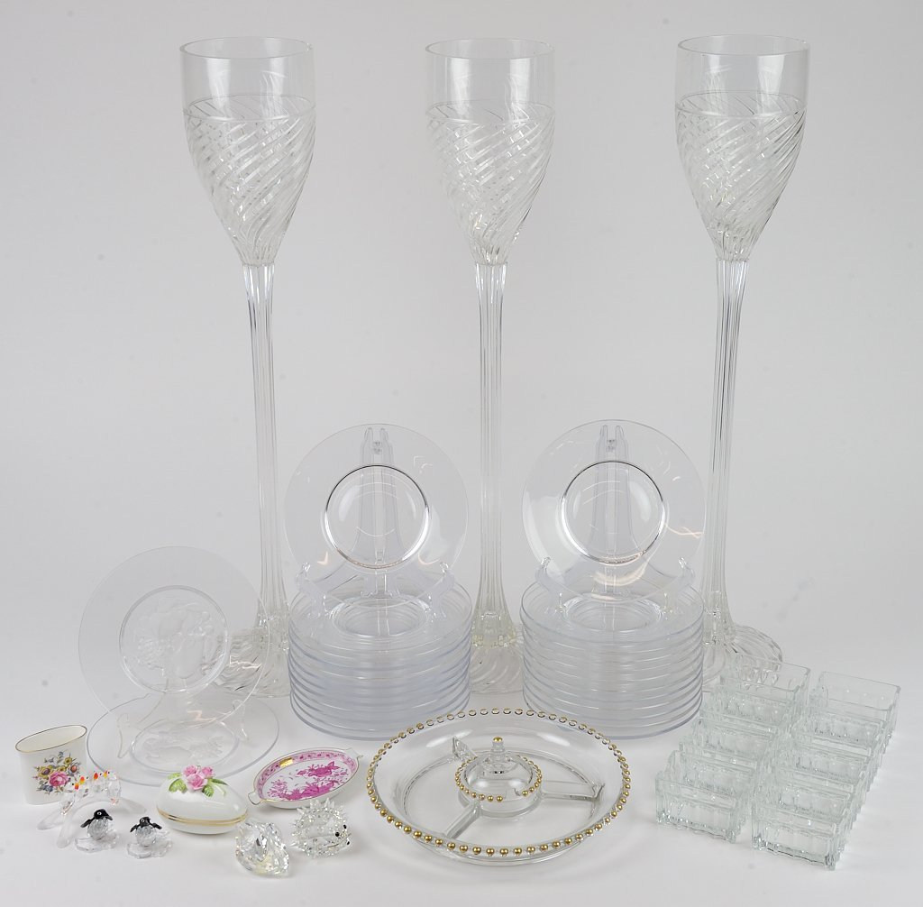 A GLASS SERVING COLLECTION INCLUDES LARGE STEMWARE