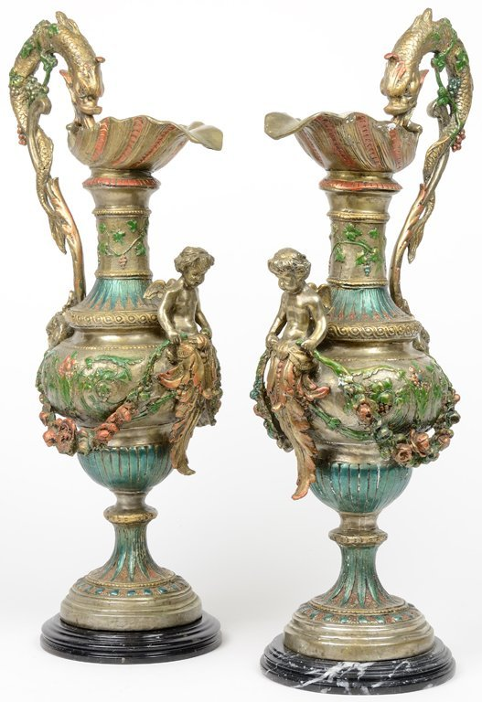 A PAIR OF VENETIAN BAROQUE STYLE BRONZE FINISH PITCHER