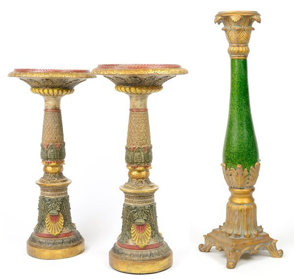 A PAIR OF PAINTED CORINTHIAN COLUMN PLANT STANDS AND A