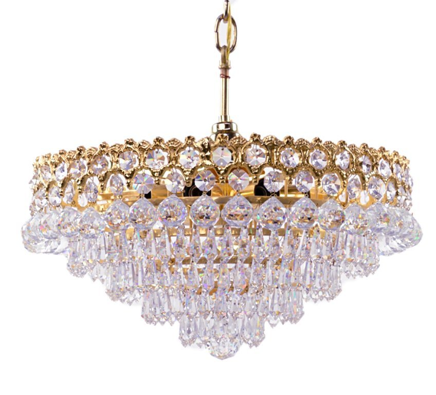 A PAIR OF GILT TONE AND CRYSTAL STEPPED PENDANT