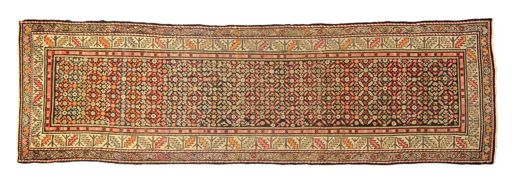 AN ANTIQUE PERSIAN MALAYER RUNER CARPET WITH GEOMETRIC
