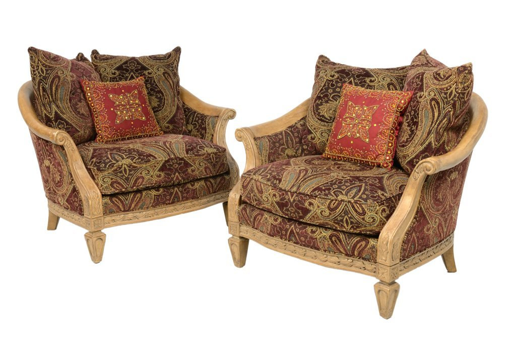"""A PAIR OF """"FLAIRE"""" BY BERNDHARDT BROCADE DEMILUNE"""