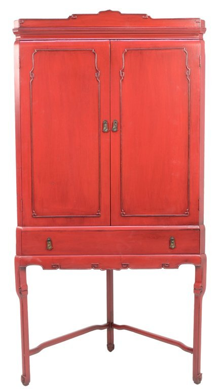 A VINTAGE CHINESE RED LACQUER PAINTED CORNER CABINET