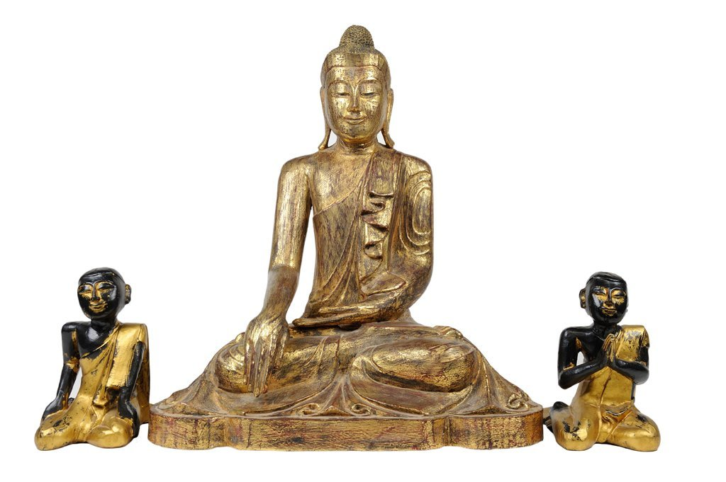 A GROUPING OF THREE GILT PAINTED BUDDHA AND MONK