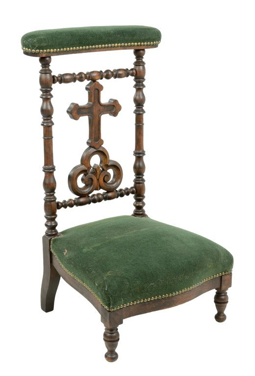 A VICTORIAN STYLE PRIE DIEU PRAYER CHAIR WITH TREFOIL