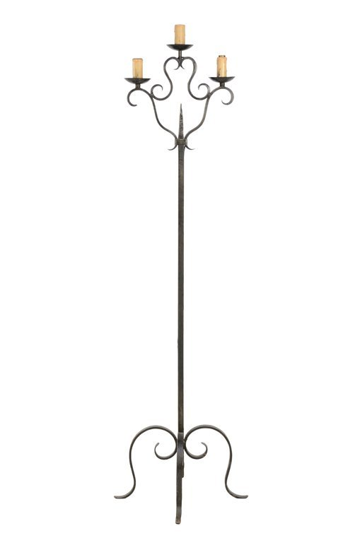 A THREE LIGHT IRON CANDELABRA STYLE LAMP
